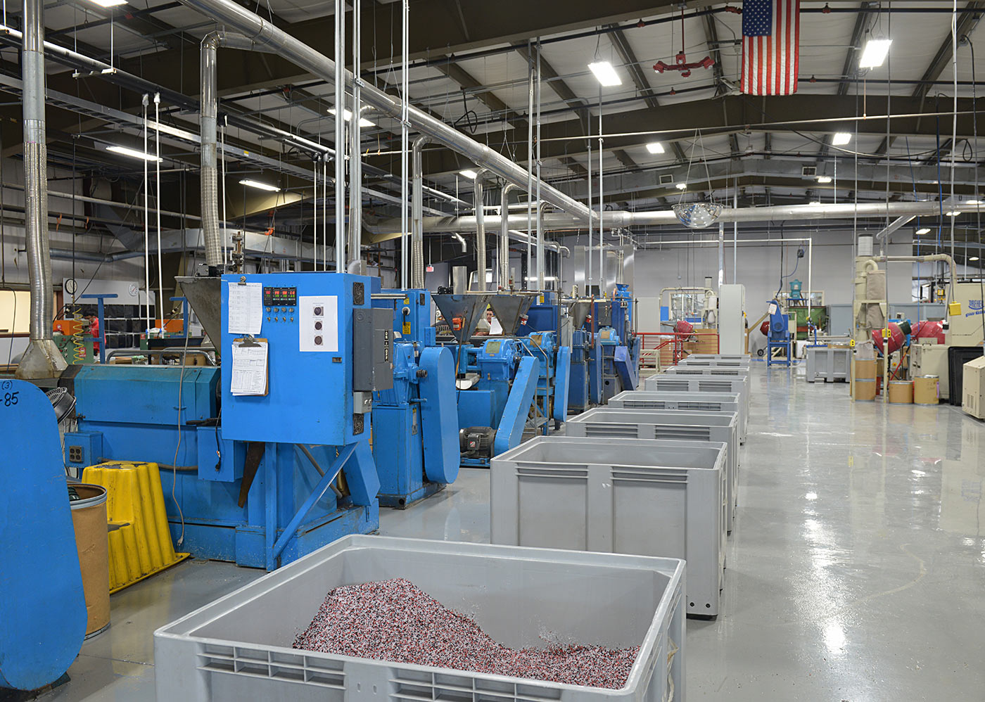 Production Floor With Large Bins